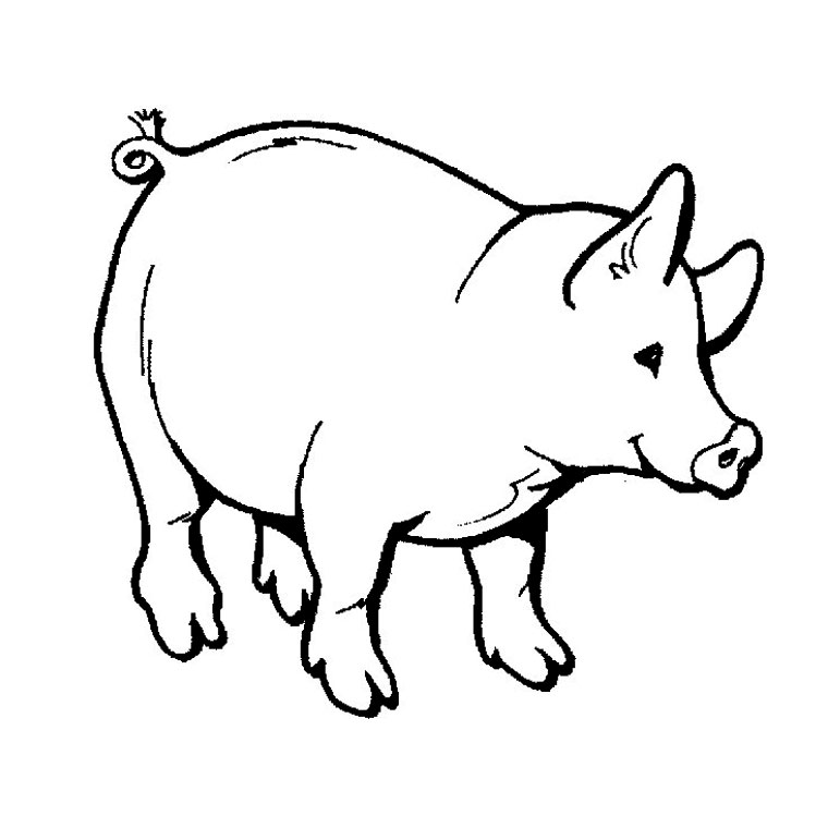 chevaucher de cochon Coloriage