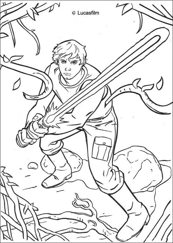 Coloriage LUKE SKYWALKER - Coloriage STAR WARS de Luke sur Dagobah