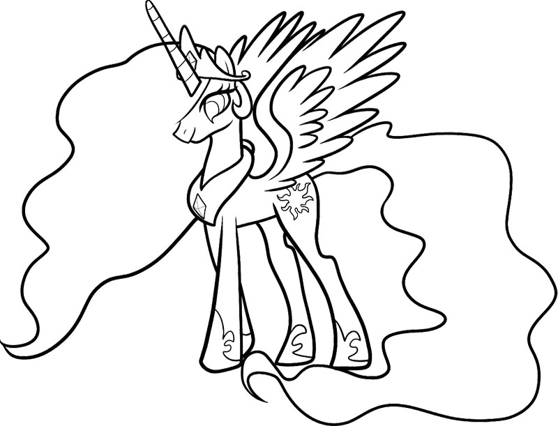 Celestia My Little Pony Coloring Page : KidsyColoring | Free
