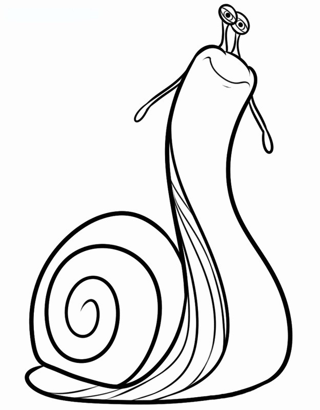 Coloriage de Turbo l'escargot, dessin Un escargot assez bizarre à