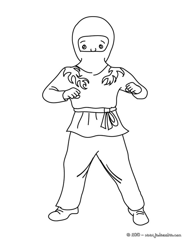 Coloriage CARNAVAL COSTUMES - Coloriage costume carnaval ninja