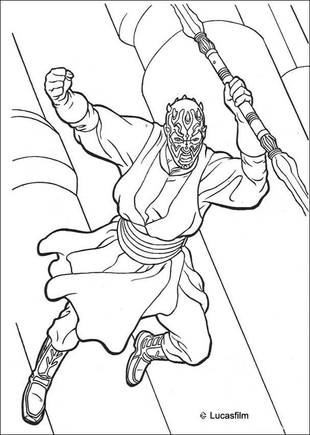 Coloriage DARK MAUL - Coloriage STAR WARS du saut de Dark Maul