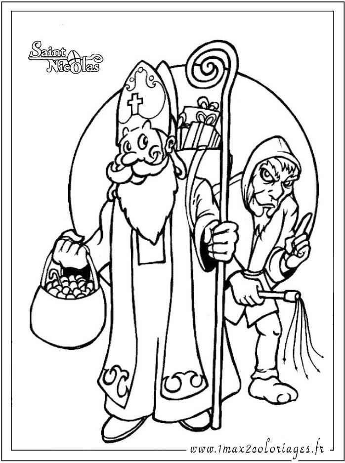 Coloriages Saint Nicolas Saint Nicolas Et Le Pere Fouettard Az Coloriage