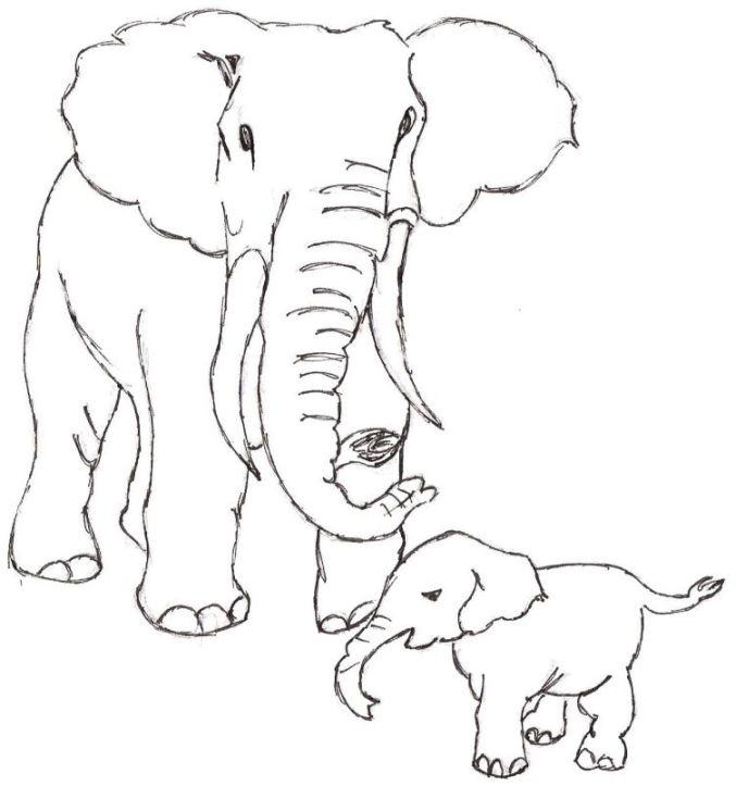 Coloriage Famille Elephant.Barbara Gravure Galerie De Dessin Originaux Az Coloriage