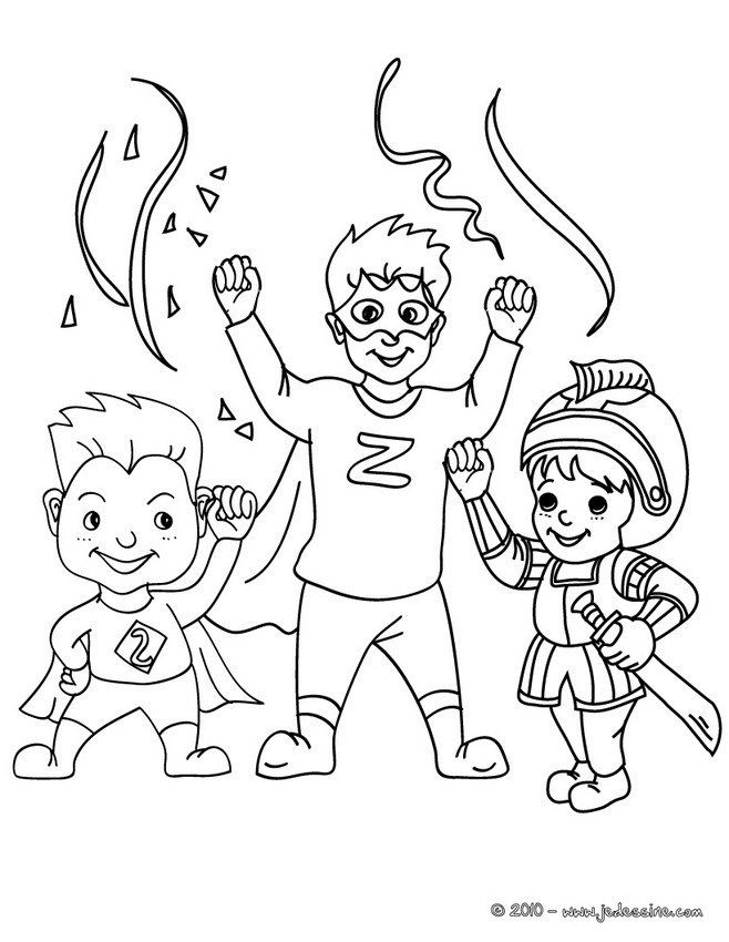 Coloriage CARNAVAL COSTUMES - Super héros costume à colorier