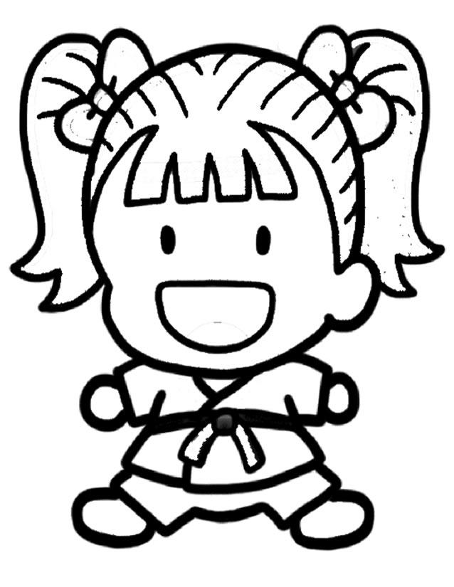 Coloriage Facile De Fille.Dessin Judo Facile