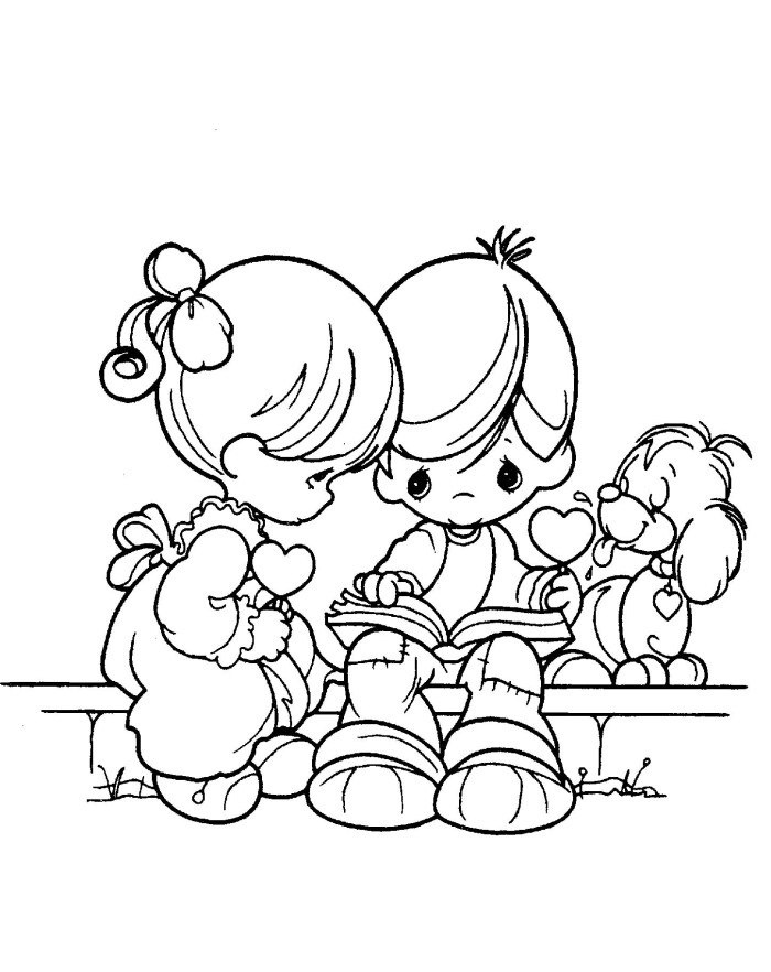 Precious Moments Boy And Girl Reads Book Coloring Pages