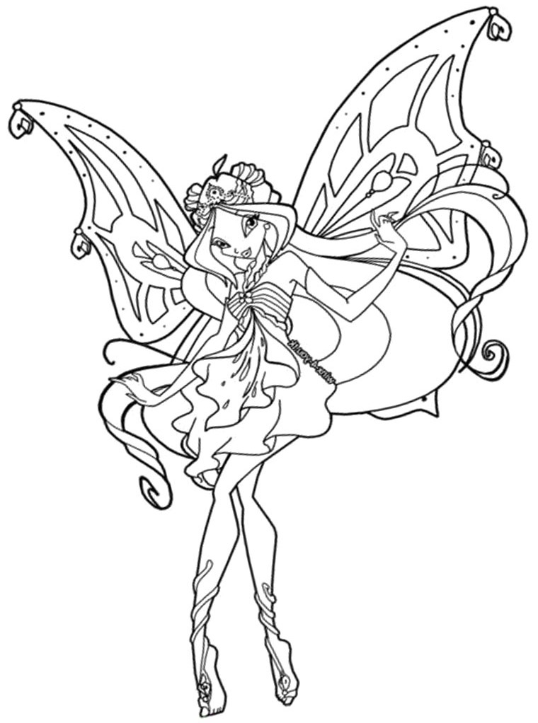 Winx Club Bloom And Sky Coloring Pages