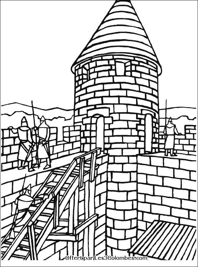 Coloriage Chateau En Ligne.Coloriage Chateaux Forts Az Coloriage