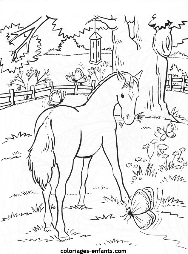 barbie chevaux Coloriage