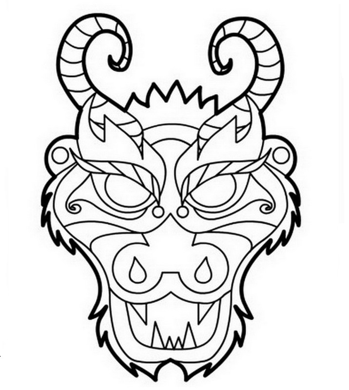 Coloriage de Dragon, dessin Un masque de dragon à colorier