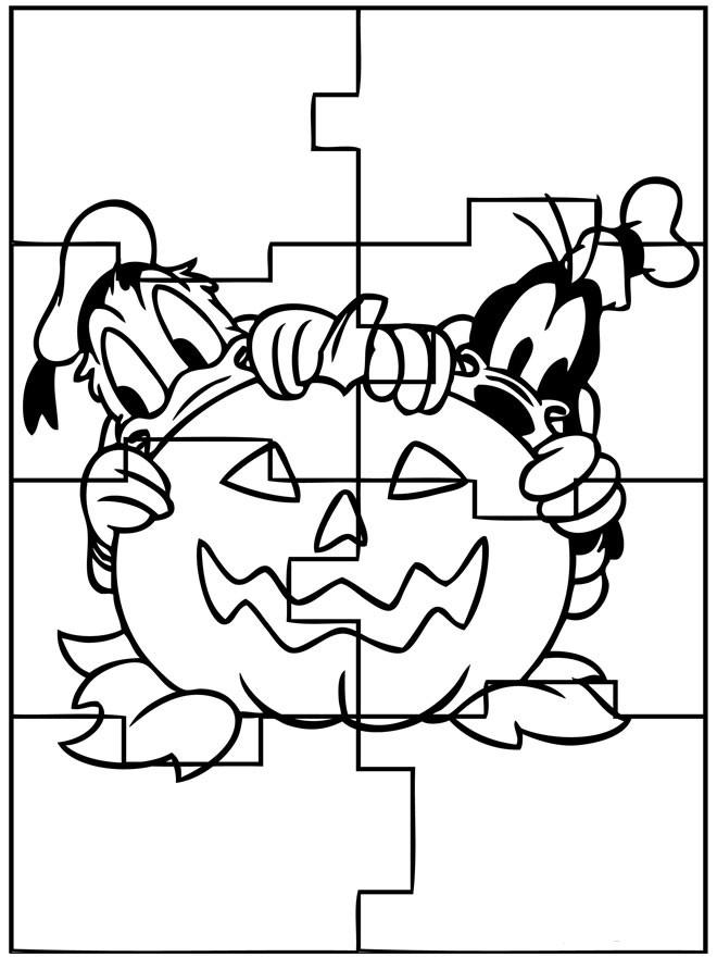 Coloriage Halloween en puzzle a Imprimer Gratuit