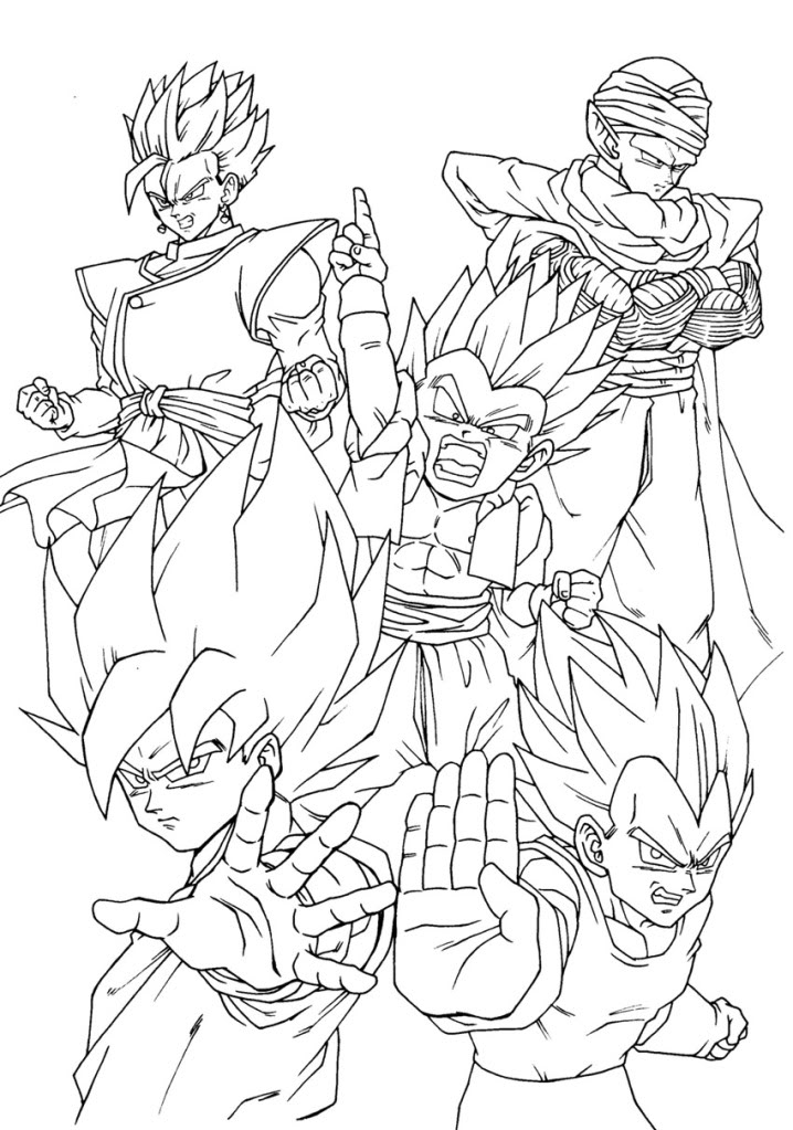 goku, sayadin 11, 12 Colouring Pages