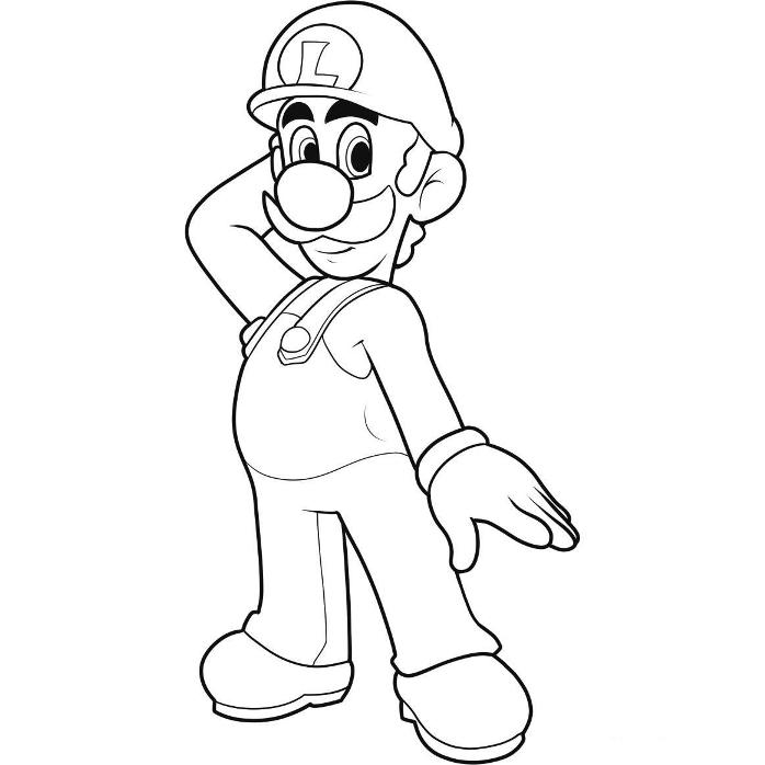 luigi on motorbike Colouring Pages (page 2)