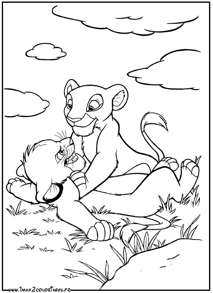Coloriages Roi Lion de Walt Disney - The lion king - Simba et Nala