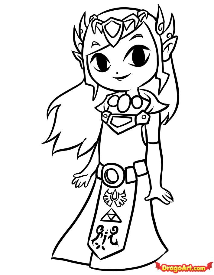How to Draw Toon Zelda, Step by Step, Video Game Characters, Pop