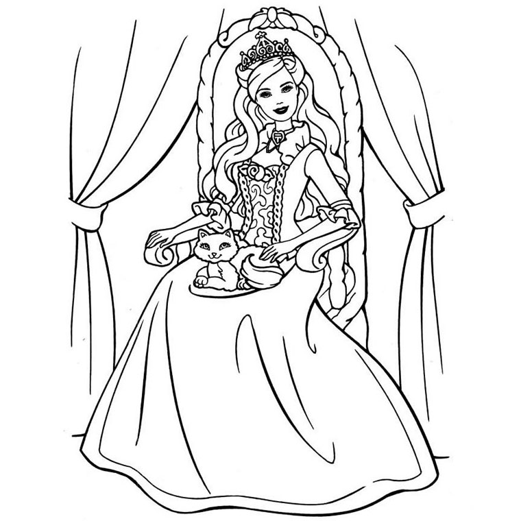 Coloriages Barbie Coeur De Princesse Az Coloriage