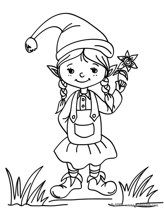 coloring pages girl elf - photo#14