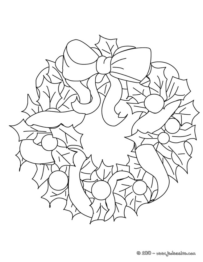 Coloriage de Couronnes de Noël - Coloriage couronne fruits de Noël