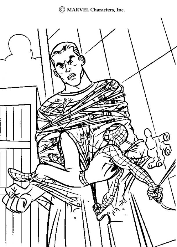 Coloriage Spiderman - L'homme de sable piégé par la toile de spiderman