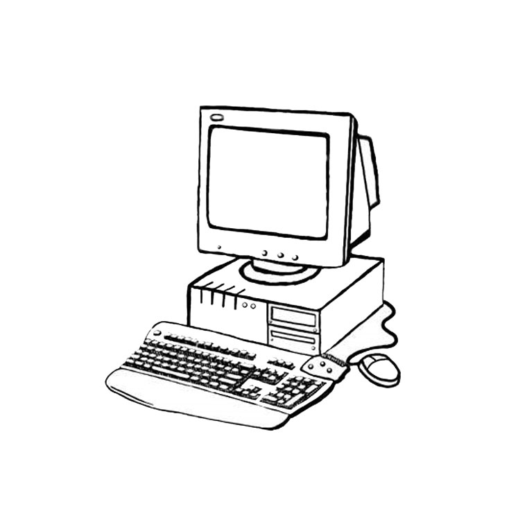 souris ordinateur coloriage