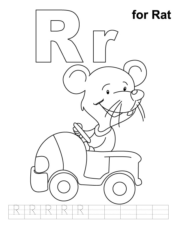R for rat coloring page with handwriting practice | Download Free