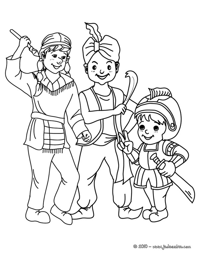 Coloriage CARNAVAL COSTUMES - Coloriage costume carnaval fée