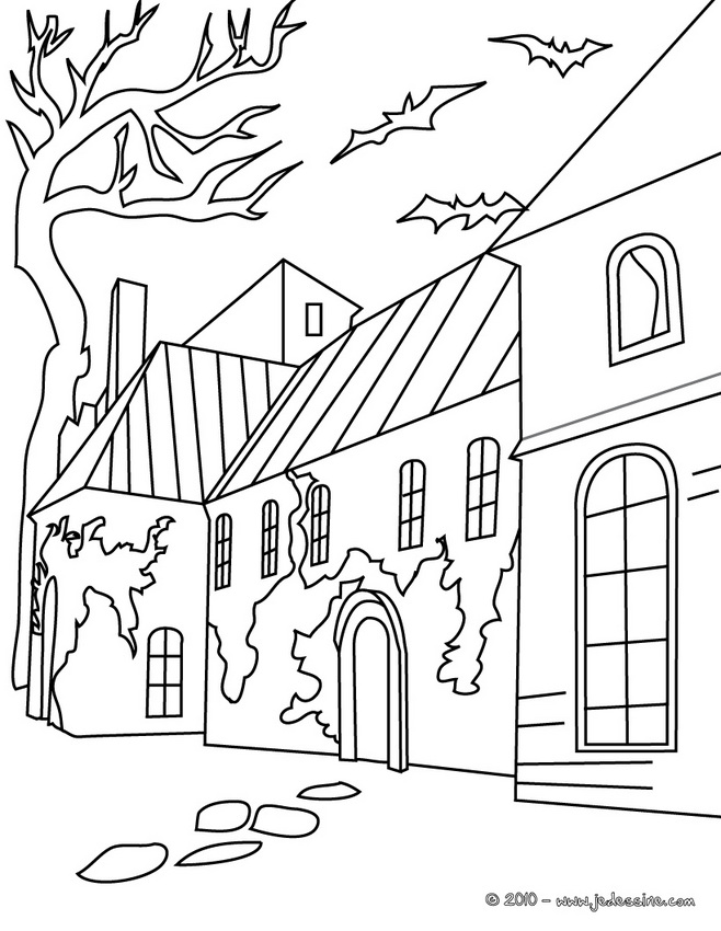 Coloriage CHATEAU HALLOWEEN - Coloriage Maison HALLOWEEN