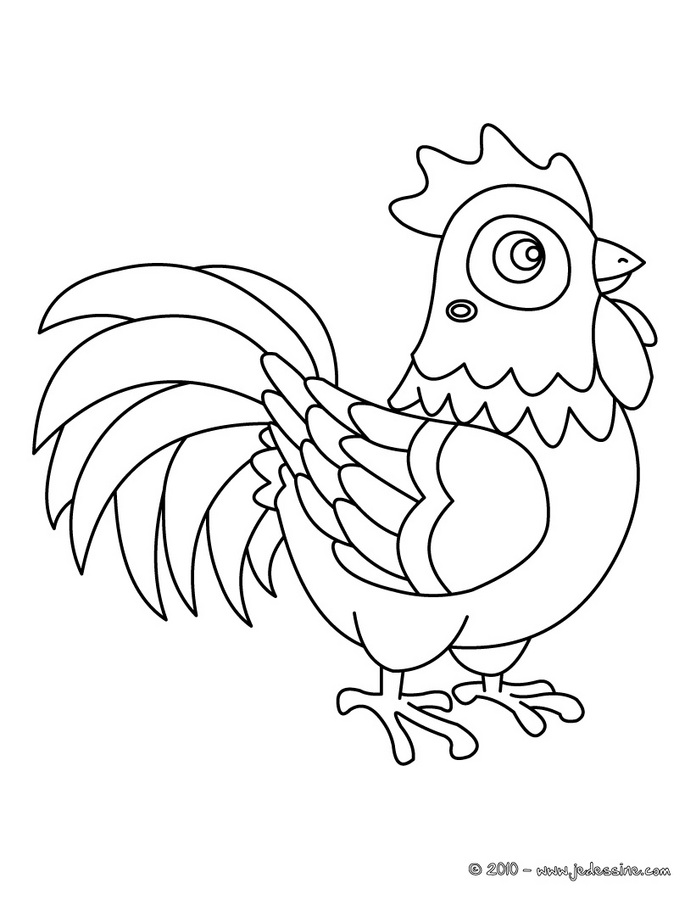 Coloriages de poules - COQ à colorier