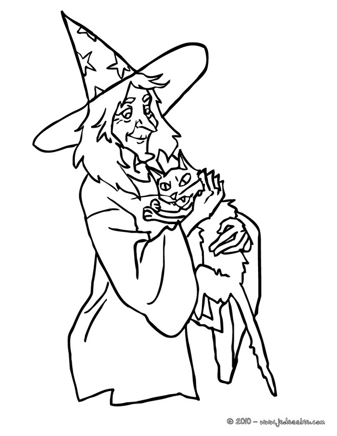 Coloriages de Sorcières d'Halloween - CHAT d'HALLOWEEN à colorier