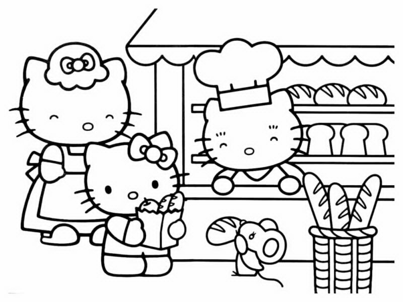 Coloriage Famille Plage.Famille Hello Kitty Az Coloriage