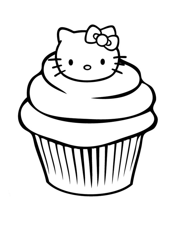 Coloriage De Hello Kitty, Dessin Un Gateau Bien Amusant à