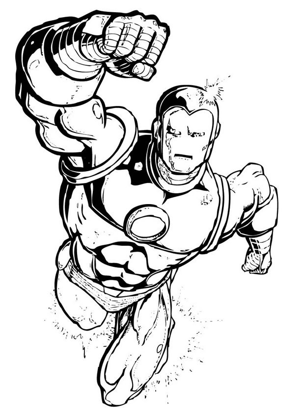 Coloriage Iron Man en vol