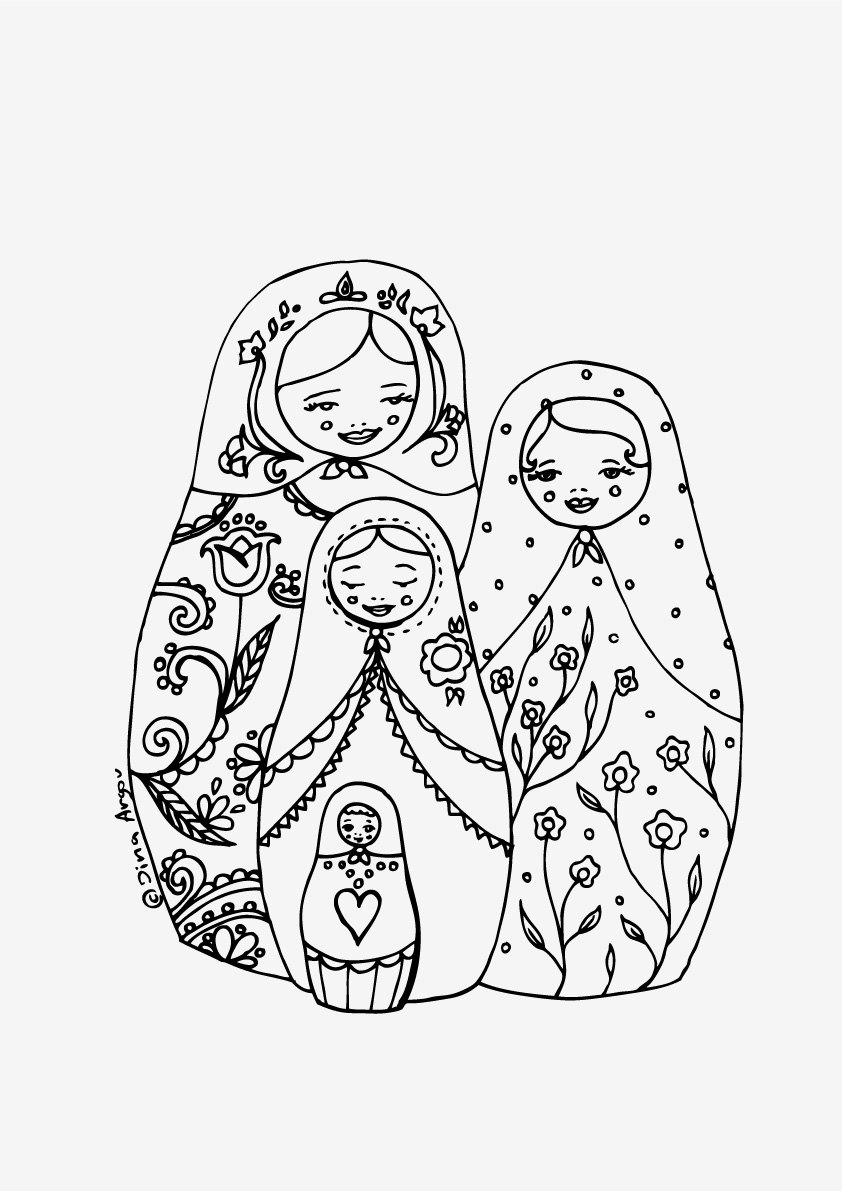 matryoshka doll coloring page - free russian nesting dolls coloring pages