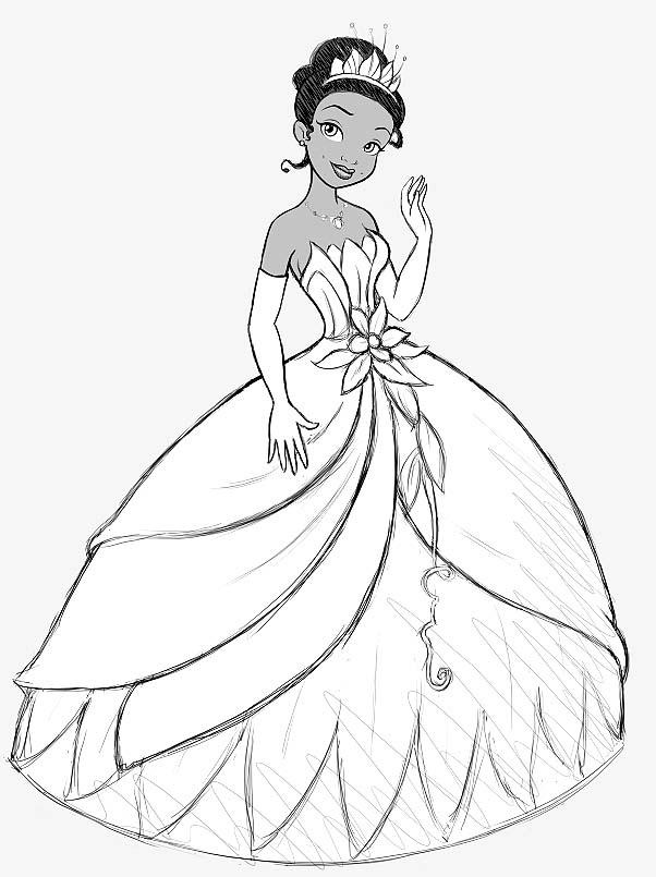 Disney Princess Tiana Coloring Pages For Kids Az Coloriage