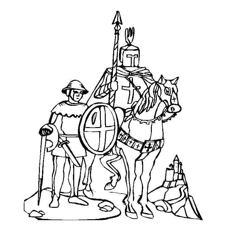 Coloriage du chevalier Bayard et son ecuyer