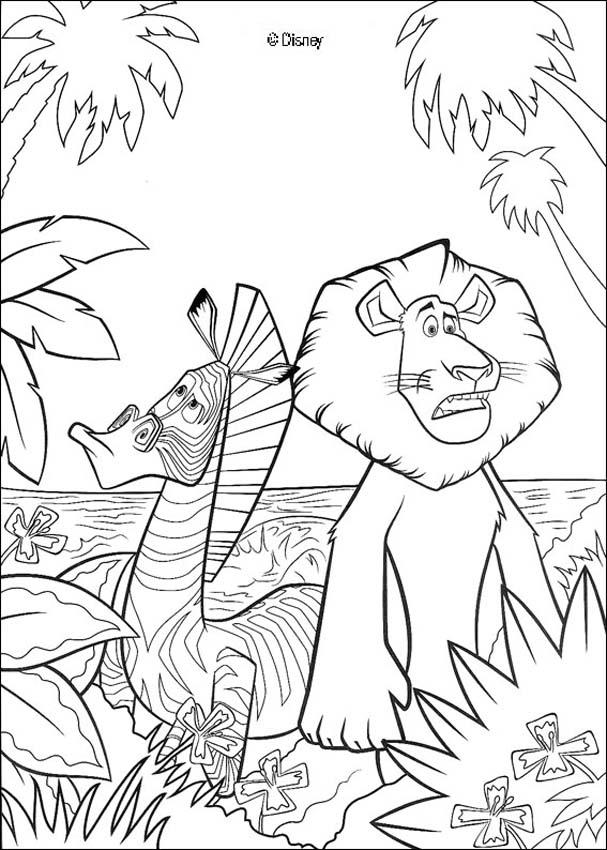 Coloriage Madagascar - Alex le lion et Marty le zèbre
