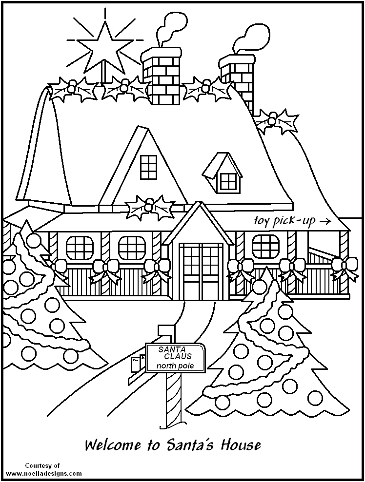 Free coloring pages of santa workshop