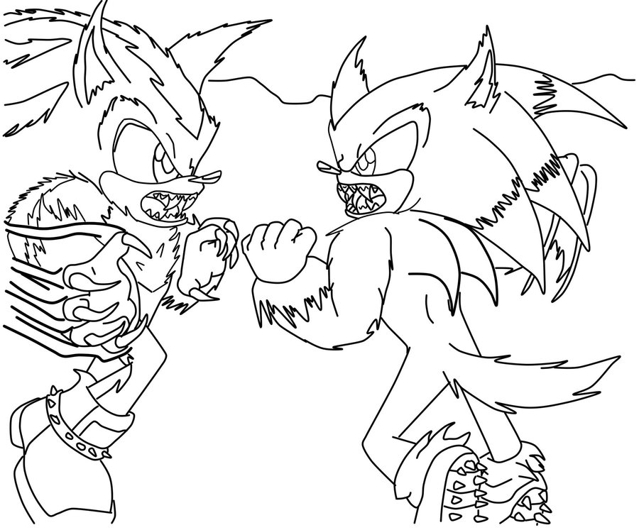sonic unleashed coloring pages - coloring sonic vs shadow comic coloring pages