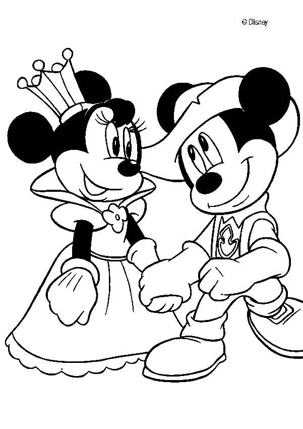 Mickey Mouse coloring pages - Queen Minnie and knight Mickey Mouse