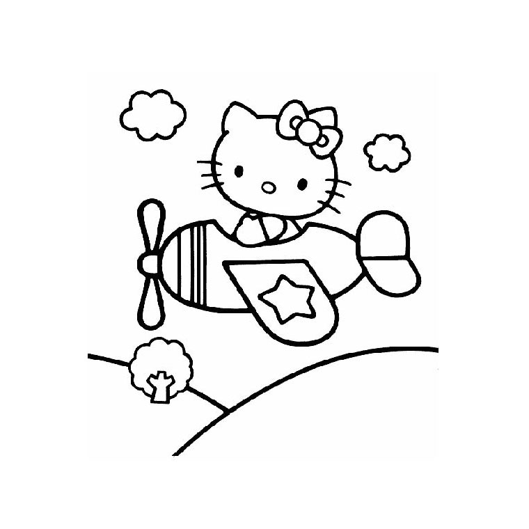 Coloriage Hello Kitty Avion a Imprimer Gratuit