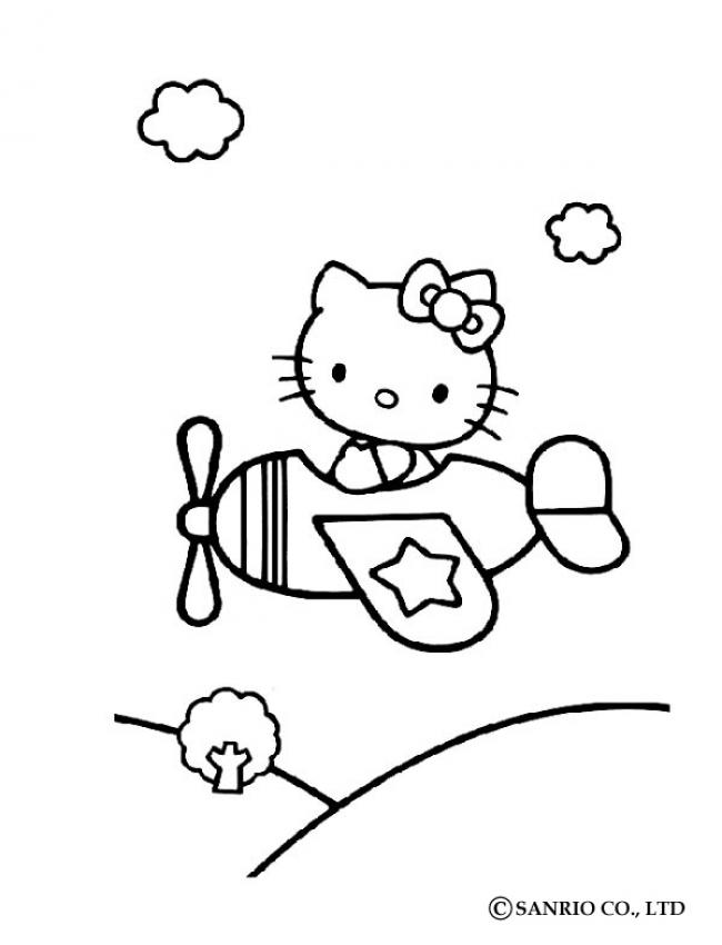 Coloriage HELLO KITTY - Coloriage de Hello Kitty en avion