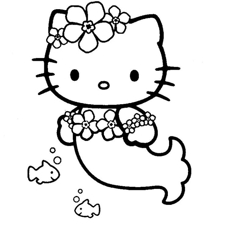 Coloriage Hello Kitty en Sirène! | { Coloriages } | Pinterest