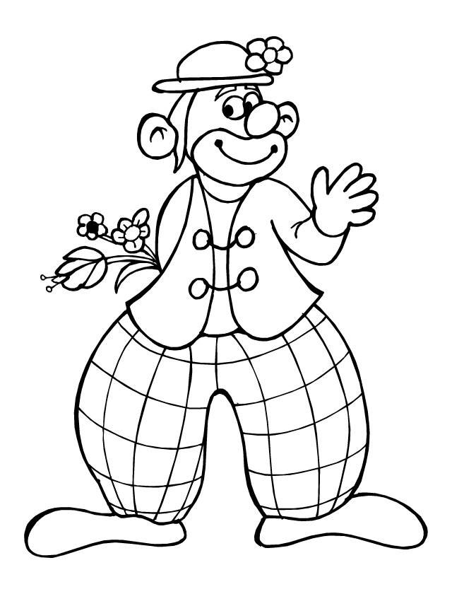 Coloriage, un clown - Tipirate