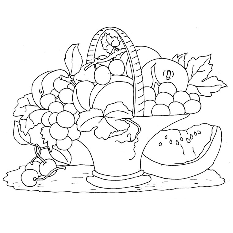 Coloriage Fruits Tropicaux.Coloriage Corbeille De Fruits Az Coloriage