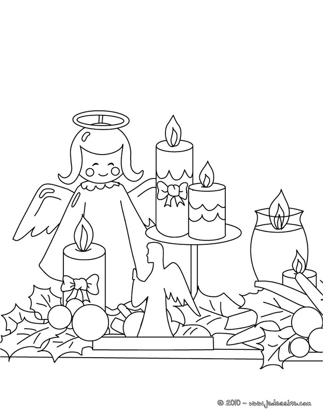 Coloriages de décorations de Noël - coloriage houx de Noël