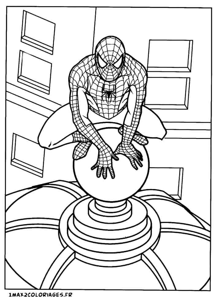 Coloriages de Spiderman a imprimer - Spiderman observe du haut du