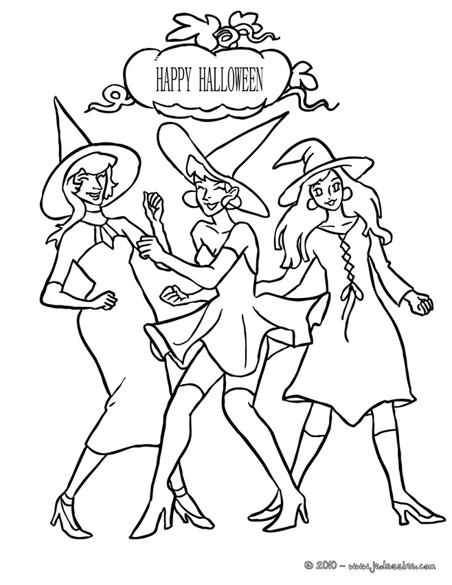 Coloriages de Sorcières d'Halloween : 84 coloriages d'Halloween
