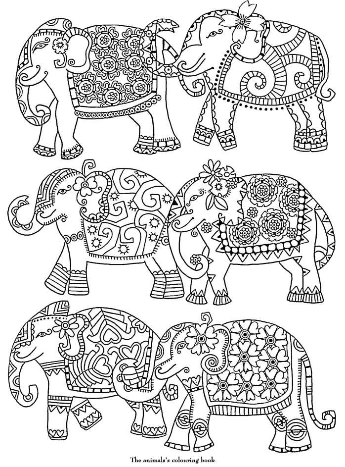 coloriage adulte art therapie éléphants à colorier