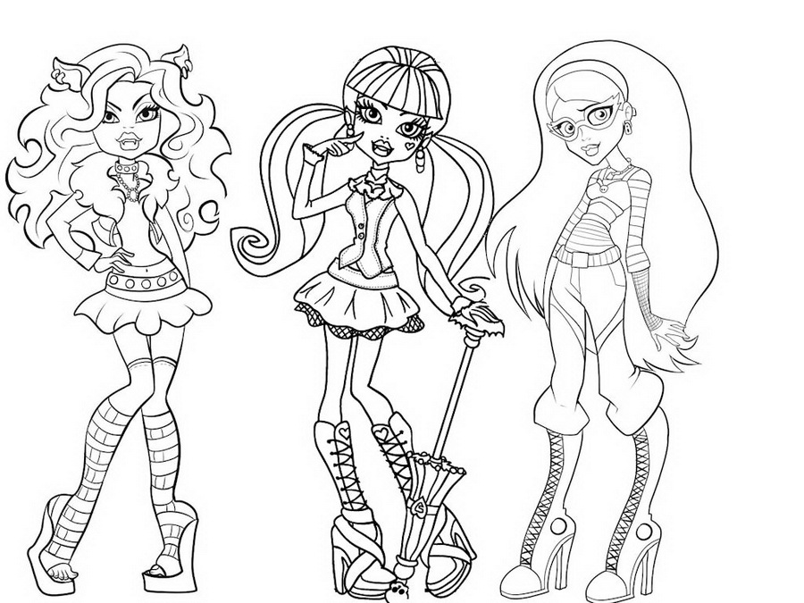coloriageà imprimer monster high catty noir Coloriage